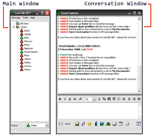 Click here to to see more screen shots of LanTalk LAN Messenger - Office Instant Messenger
